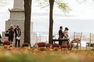 Fall wedding romantic elopement Quebec City