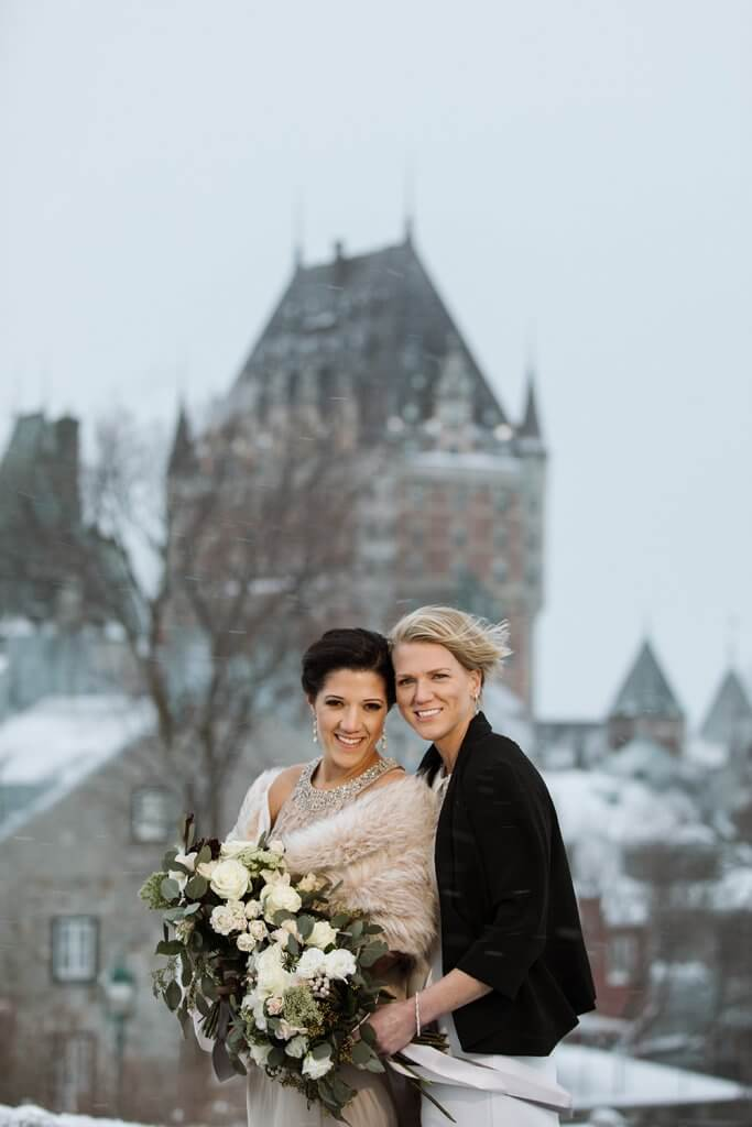 Brides in Quebec City Romantic winter wonderland