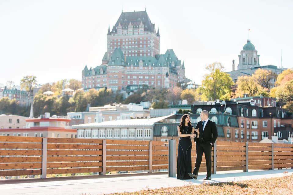 Engagement session Quebec City photographer Chateau frontenac